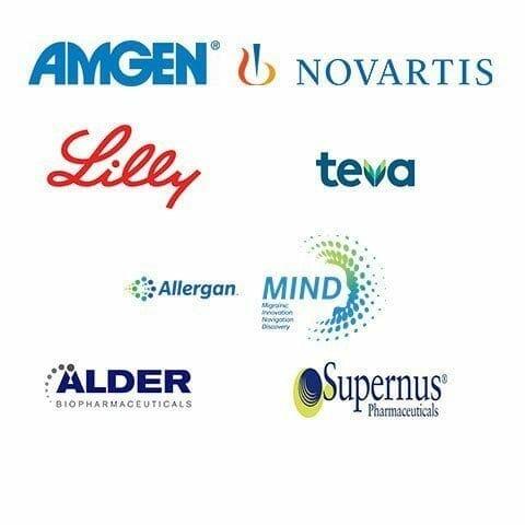 Amgen, Novartis, Lilly, Teva, Allergan Mind, Alder Biopharmaceuticals, Supernus Pharmaceuticals
