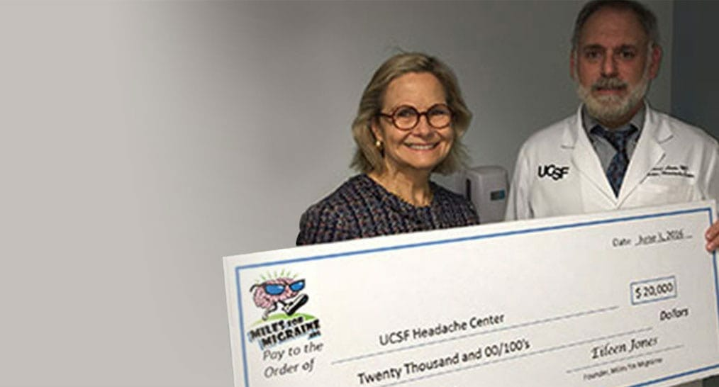 Founder Eileen Jones presenting $25,000 to Dr. Morris Levin of UCSF Headache Center
