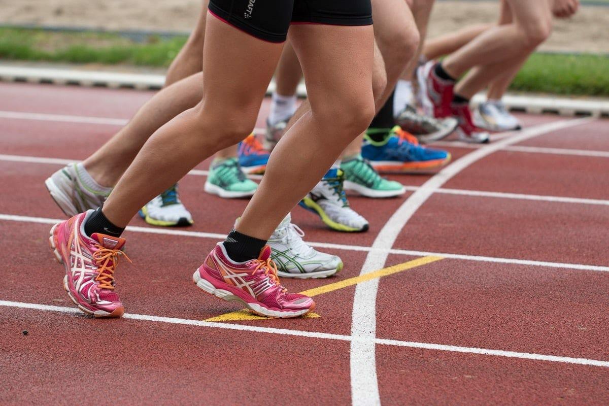 Runner's feet at the starting line